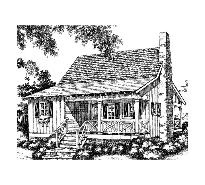 My little cozy little dream cottage that's just my size. With a metal roof and covered porches to sit and play music on for hours in my free time.