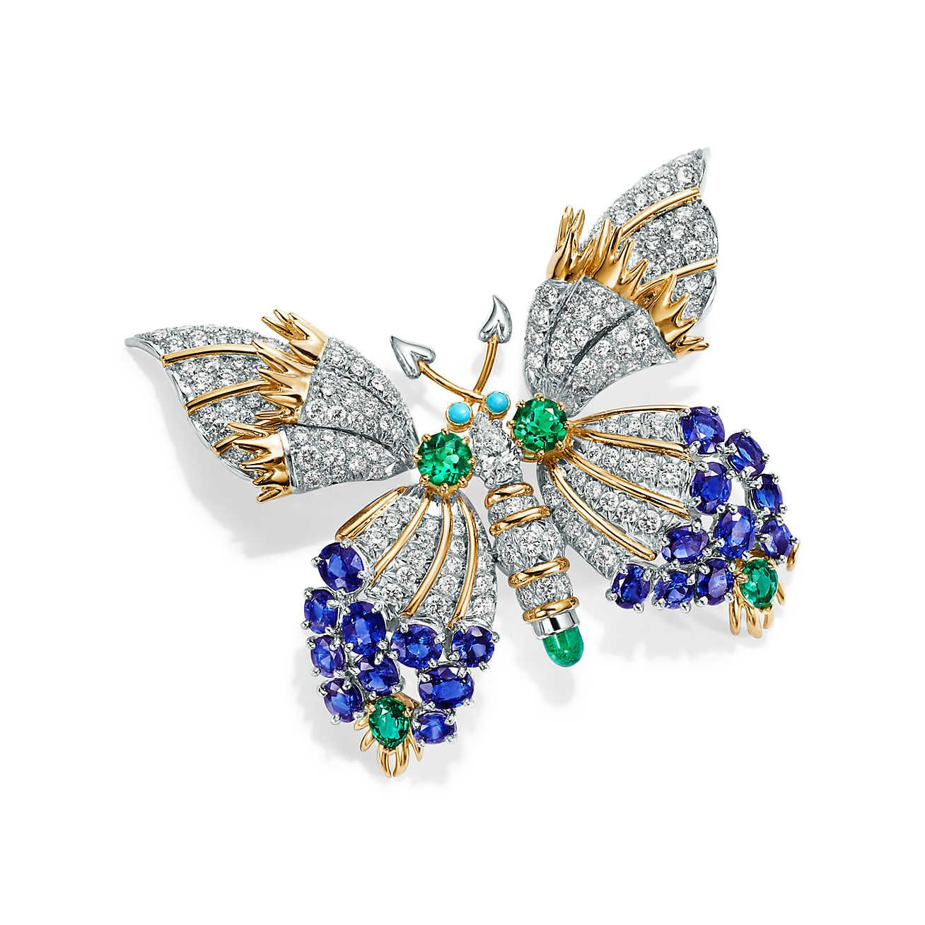 4baeab17c Broche Tiffany & Co. Schlumberger Butterfly em platina e ouro 18k ...