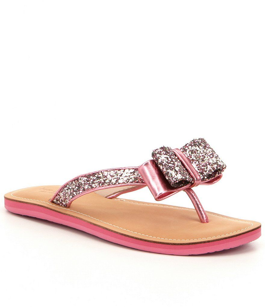 846494e01b87 Rose Gold:Icarda Bow Detail Glitter Fabric & Leather Flip Flop Sandals - Kate  Spade @Dillard's