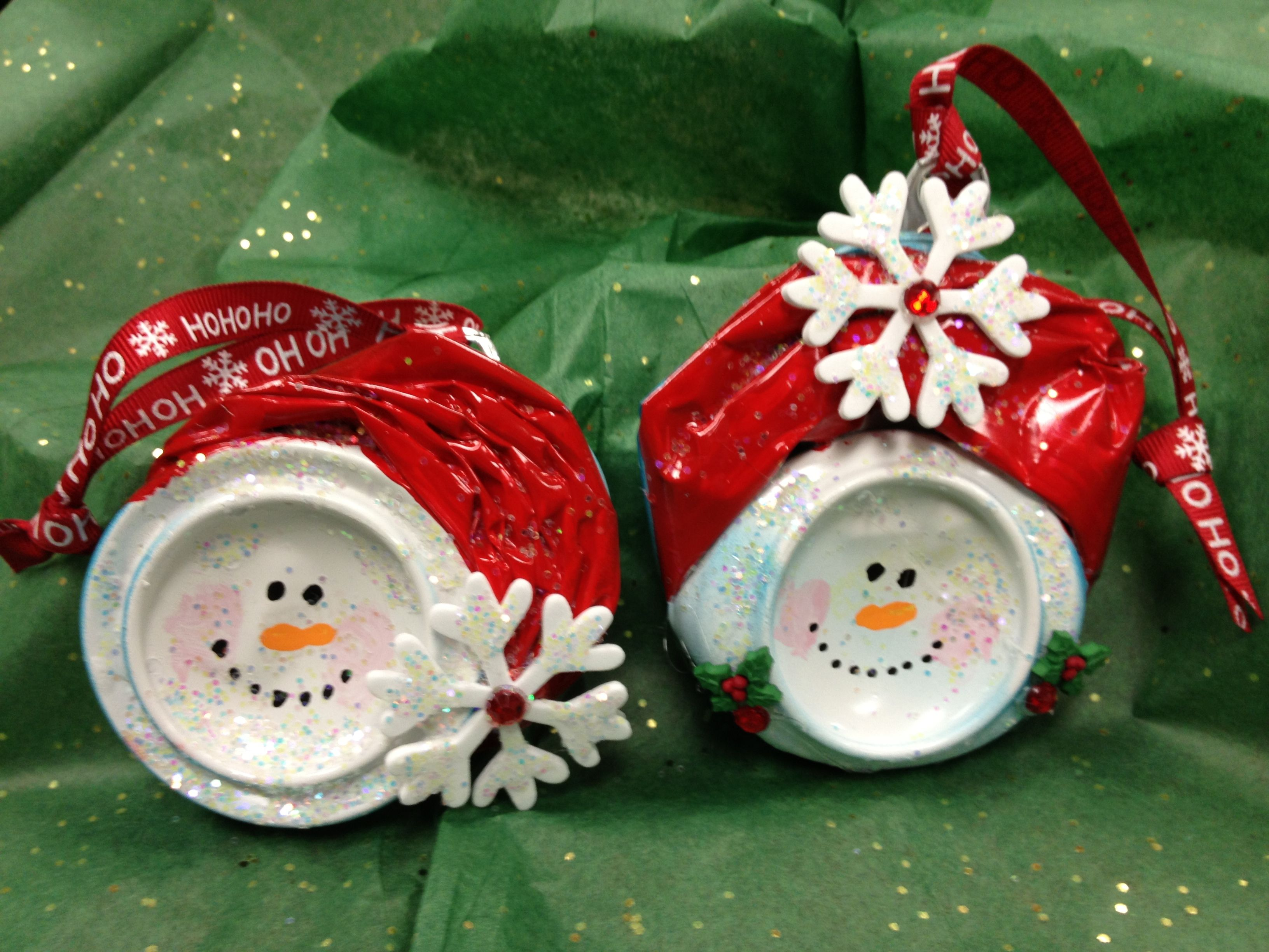 Snowmen Snowcans  Mr & Mrs Snow Made From Smushed Coke Cans