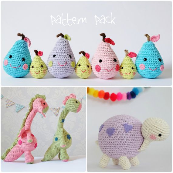 Crochet Amigurumi Toy PATTERN Pack Special Offer Happy Pears, Dragon ...