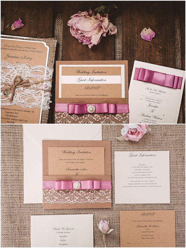 DIY Hochzeit Rustikale Einladungskarte Hochzeit Mit Rosa Schleife Und  Spitze DIY Hochzeitseinladungen Mit Spitzen Und Bändern