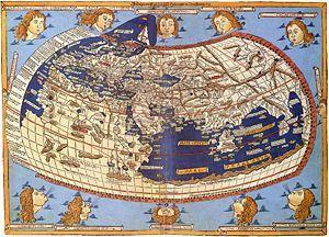 """Mapa del món segons la """"Geographia"""" de Claudi Ptolomeu (segle II dC)"""
