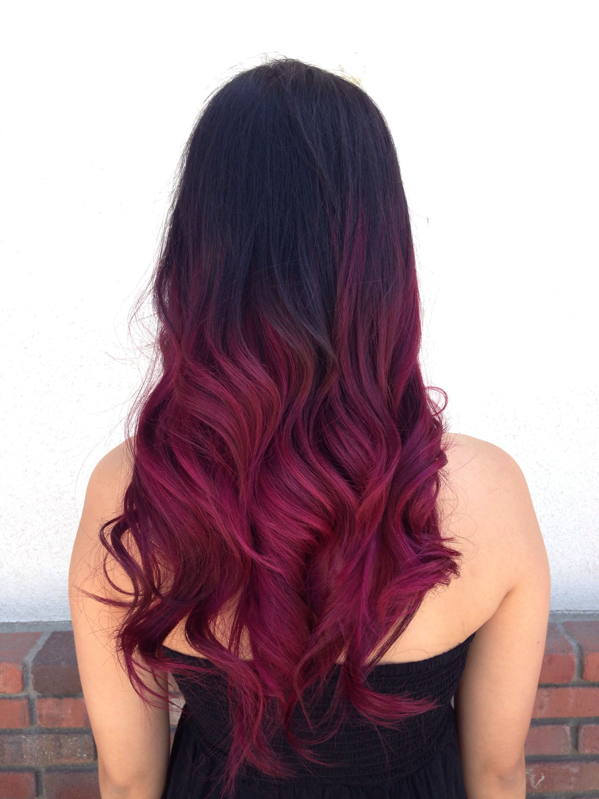Vibrant Violet Red Ombre Magenta Hair Magenta Hair Colors Red Ombre Hair