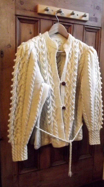 07651ca574b53 womens cardigan aran fishermens jumper cream winter clothing vintage hand knitted  knitwear. £55.00