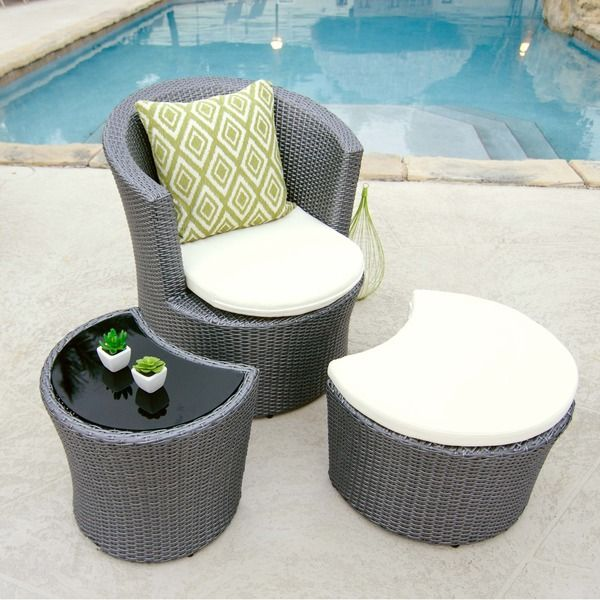 Boca Outdoor Synthetic Rattan Lounge Chair/Ottoman/Side Table Set