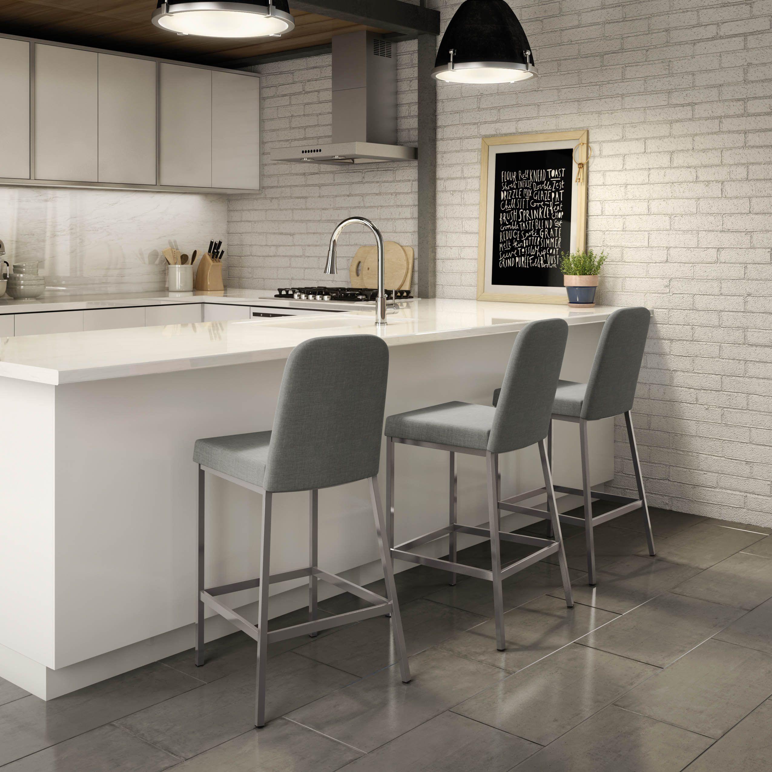 Amisco Spoon Metal Barstool 1 Grey Metal Grey Polyester Kitchen Design Bar Stools Counter Stools