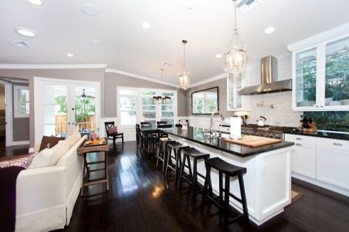 Love the grey, dark counters, and light fixtures.