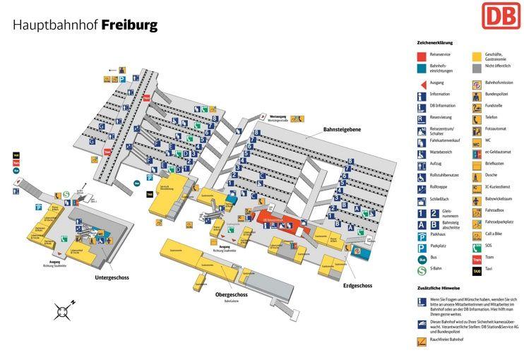 Freiburg hauptbahnhof map Maps Pinterest Freiburg and City