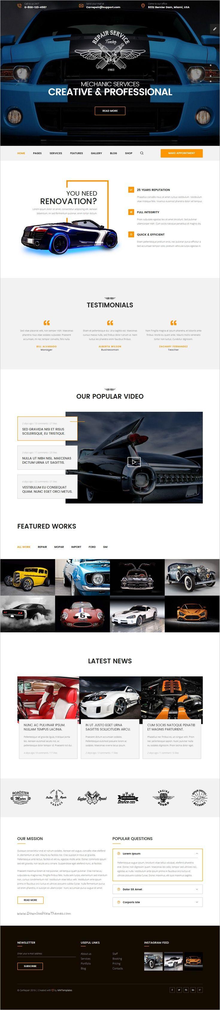 Mechanic car repair tuning routine maintenance html template with visual builder