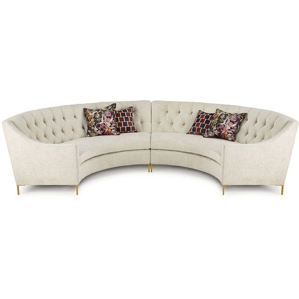 Ambella Jasmine Curved Tufted Sectional ($12,899) ❤ Liked On Polyvore  Featuring Home, Furniture