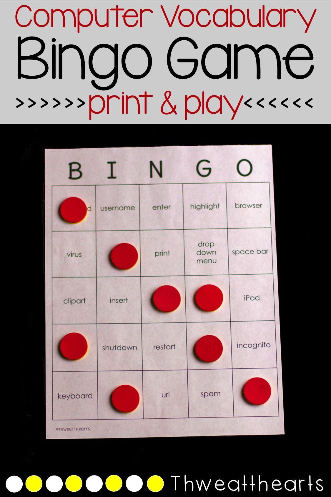 Computer Vocabulary Bingo Game 2