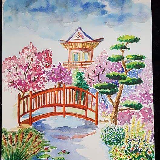 jardin japonais l 39 une de mes premi res aquarelles aider d. Black Bedroom Furniture Sets. Home Design Ideas
