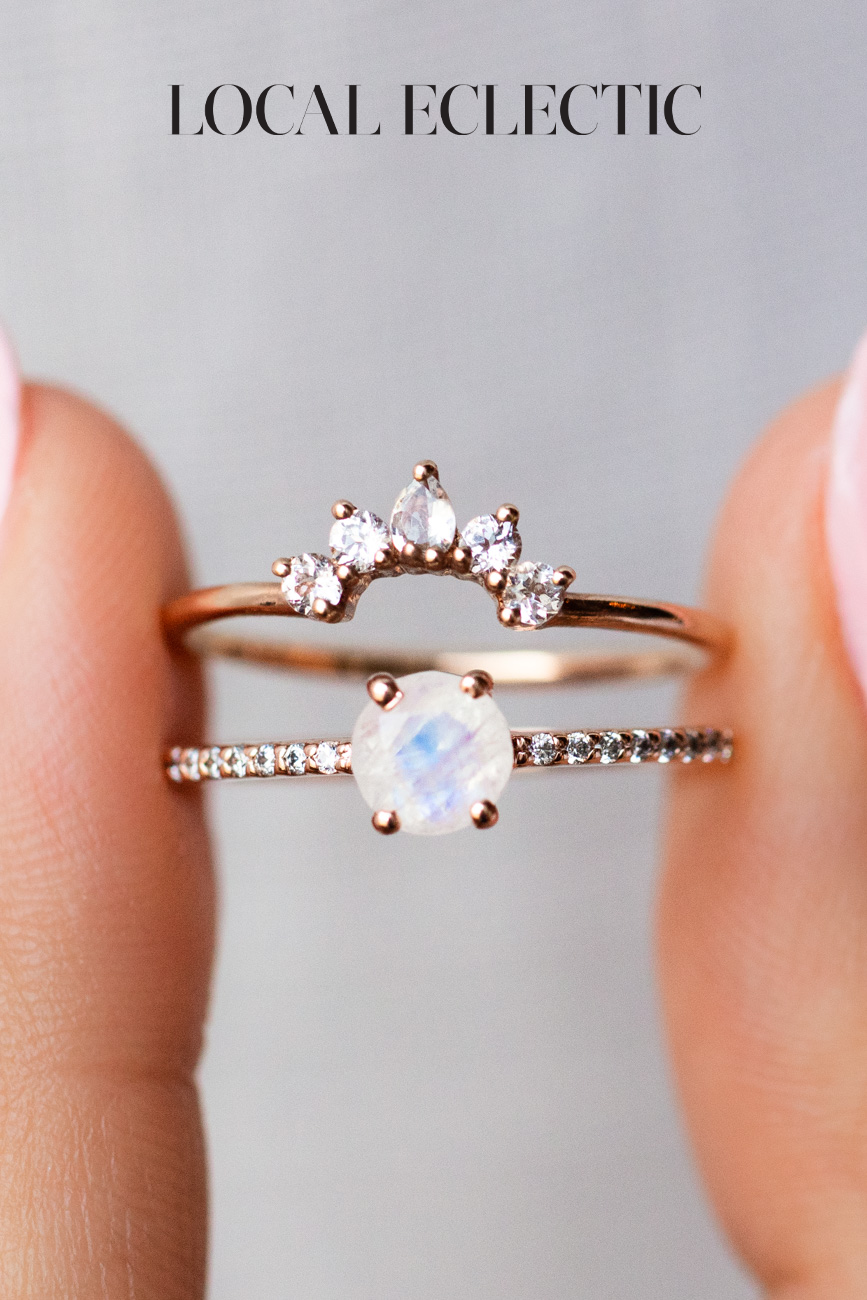 Rose Gold Moonstone Ring Stack