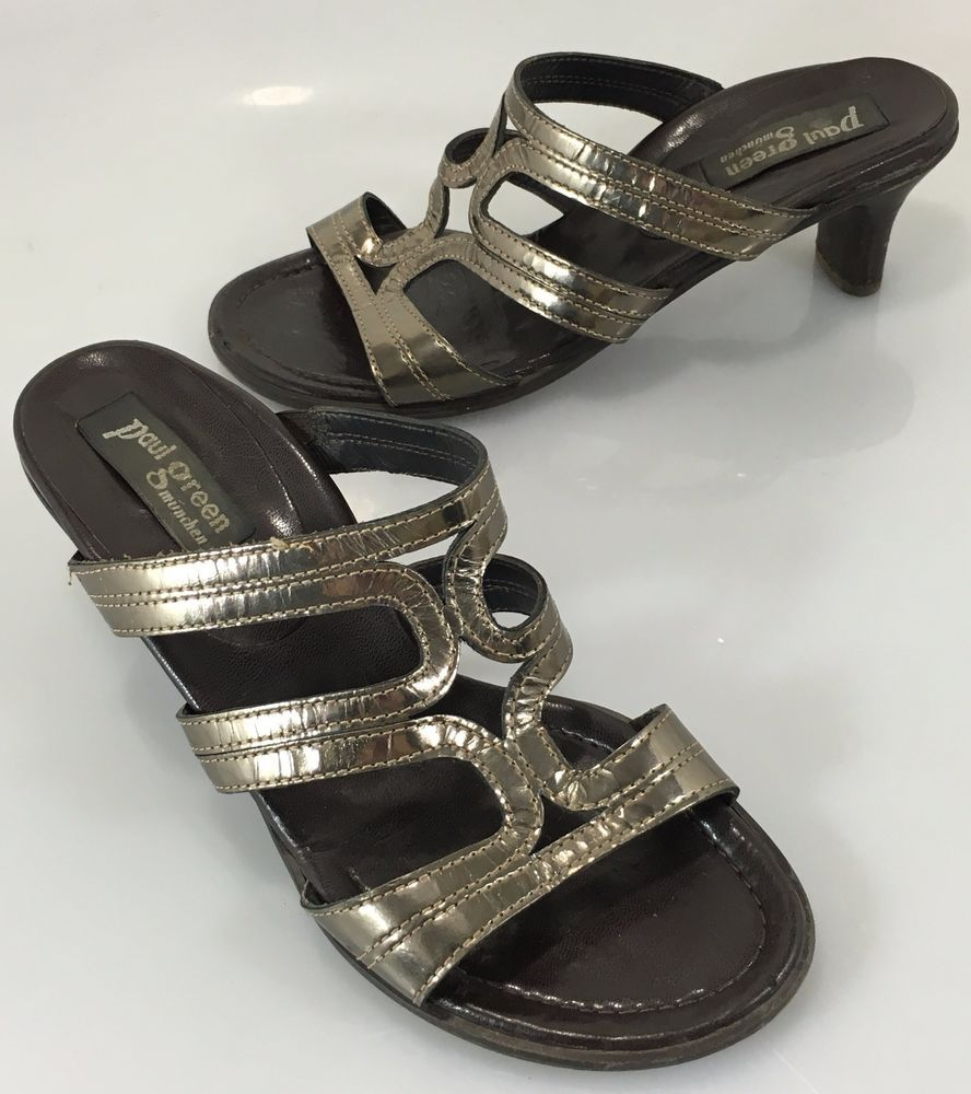 Paul Green Munchen Womens 4 Austria 5.5US Bronze Patent Leather Slides Sandals  #PaulGreen #Slides #Casual