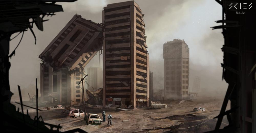Artstation Skies Destroyed Buildings Sergey Shilkin Fantasy Art Landscapes Fantasy Landscape City Drawing