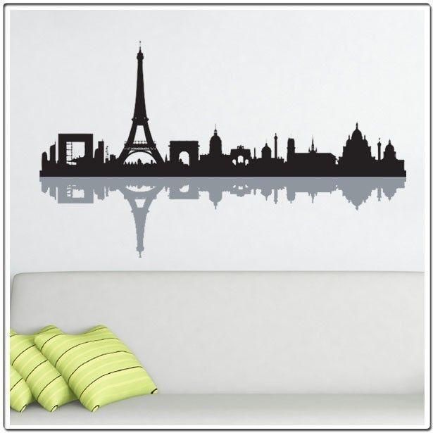 Paris Bathroom Wall Art: Paris Skyline Silhouette - Wall Decal
