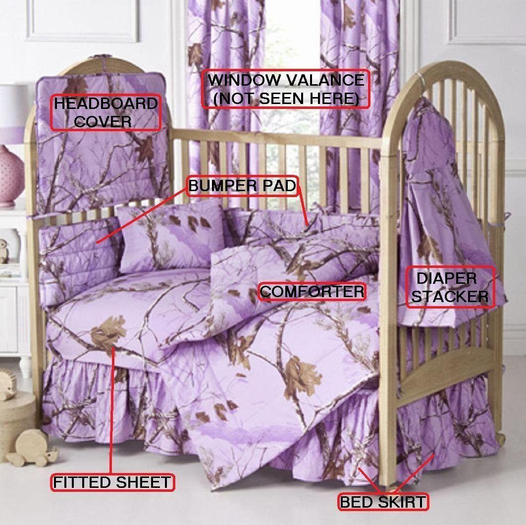 Realtree All Purpose Lavender 7 Pc Baby Crib Set Gift