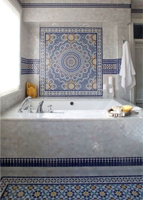 Ideas For Decorating Your Interior Using Beautiful Moroccan Tiles Inspiring Bathroom Design With White Bathtub And Matching Floor Tiles Ideas And Towel