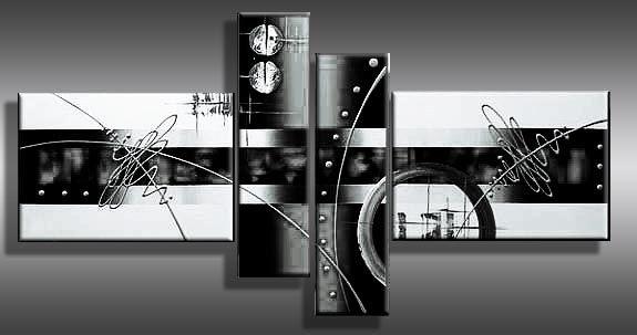 Verbazingwekkend Abstract/modern schilderij in zwart wit, naam : HORIZON www NY-87