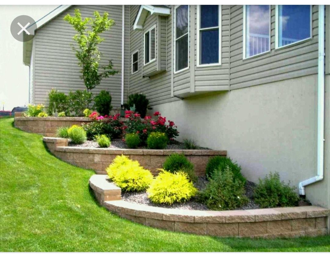 layered flowerbed for side of house | front yard