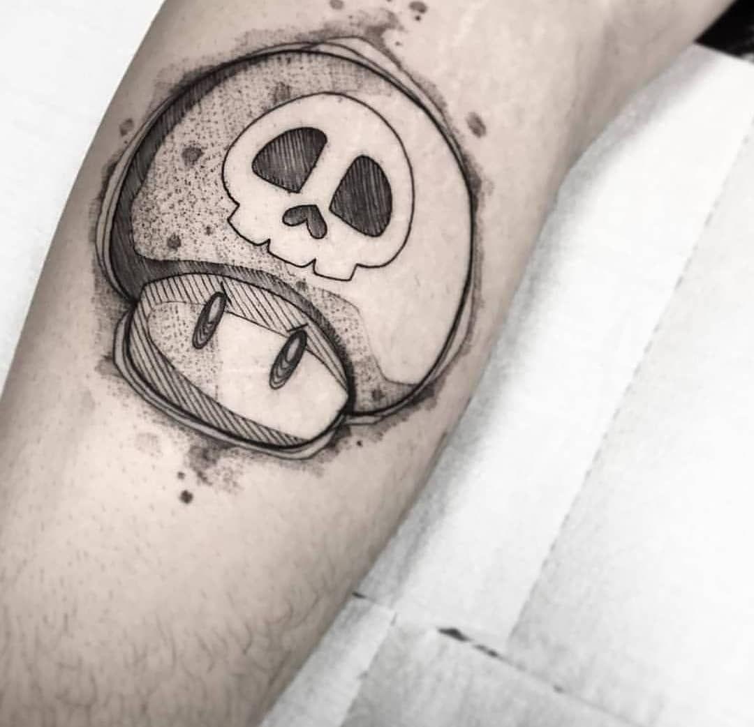 I Love This Tattoo Mario Supermario Og Skull Mushroom