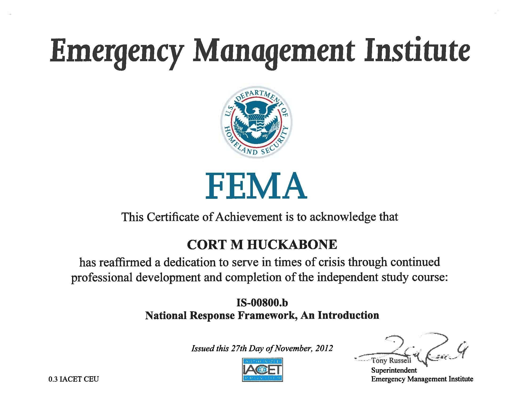 Fema 800 certification college degree certifications pinterest fema 800 certification xflitez Image collections