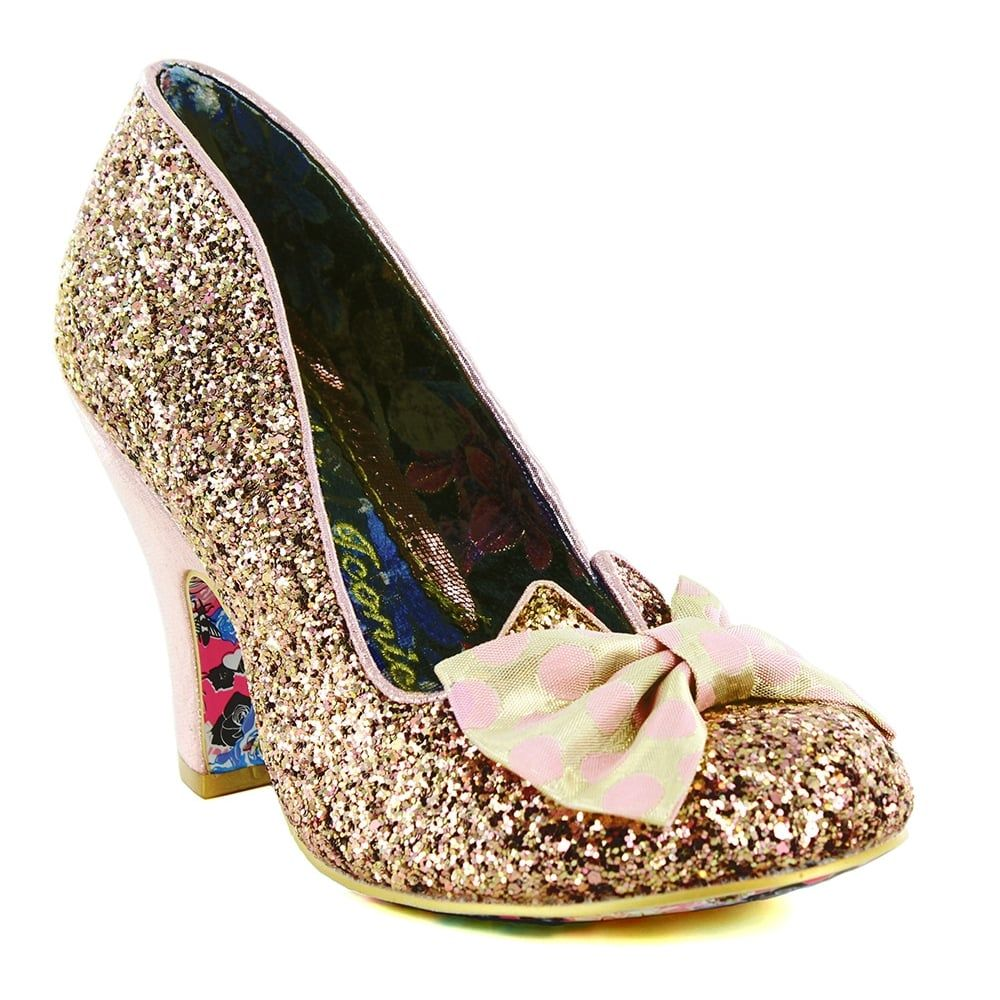 c381243f2143 Irregular Choice Nick Of Time 4135-14W Womens Court Shoes - Gold/Pink