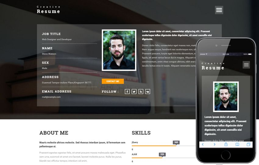 Creative #Resume a #Personal #Category #Bootstrap #responsive - bootstrap resume template