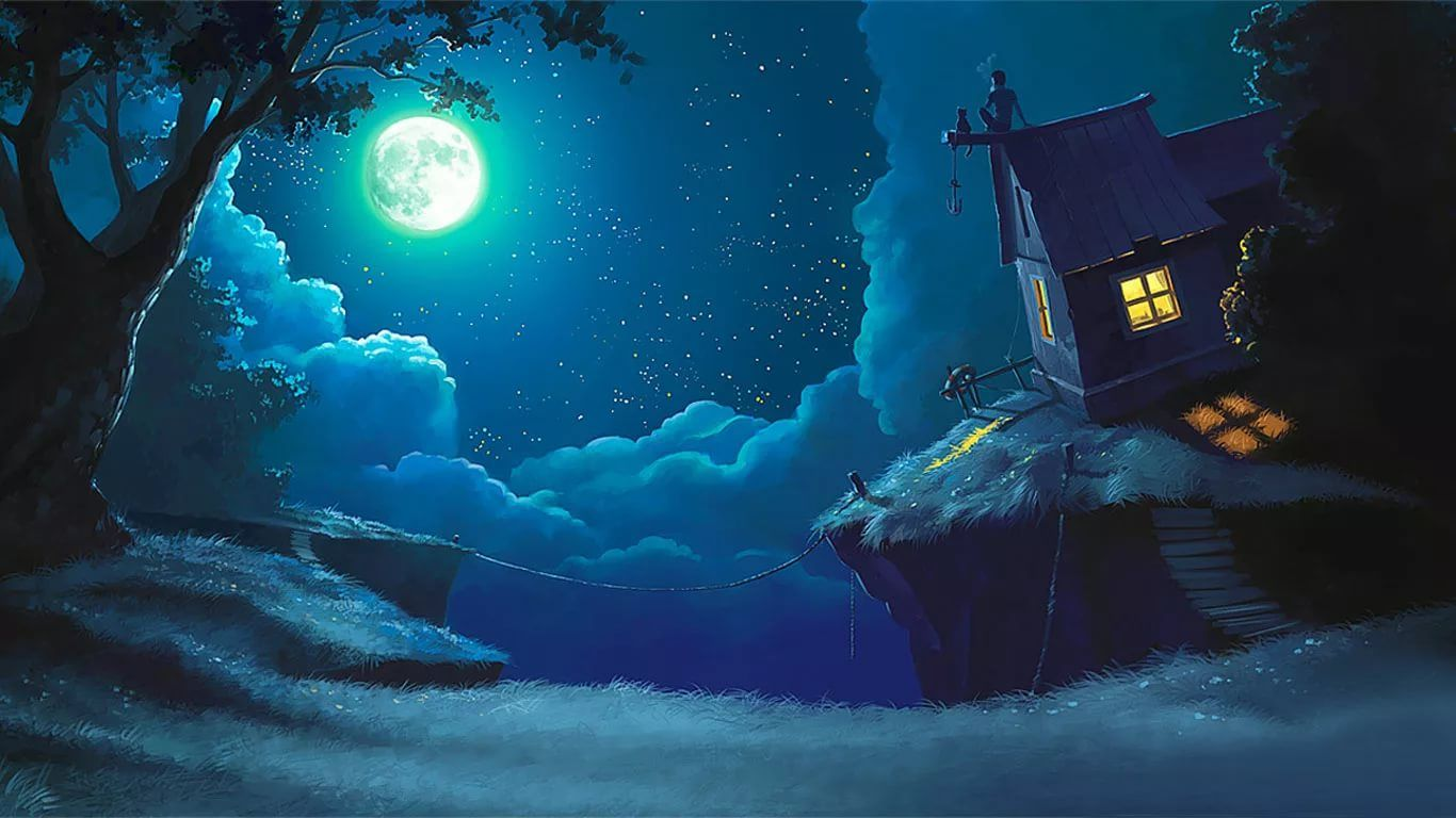 Смешные, сказочные открытки ночь