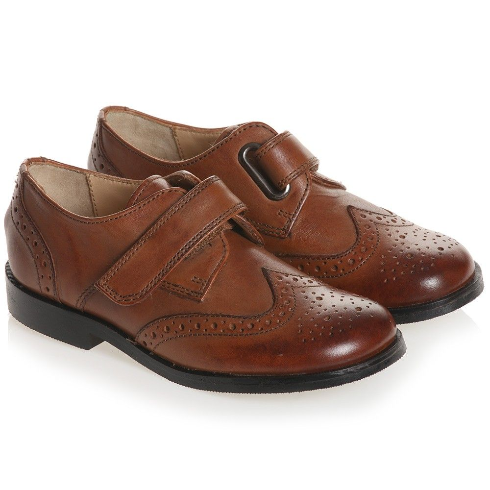 Boys brown leather velcro brogues hans shoes