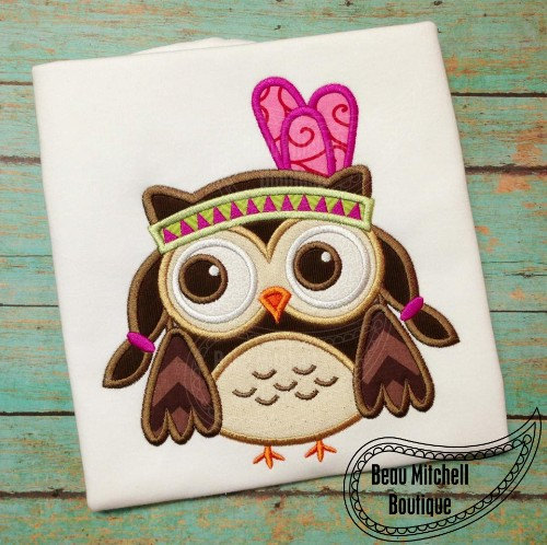 Indian Owl Girl Applique Embroidery Design by BeauMitchellBoutique, $6.00