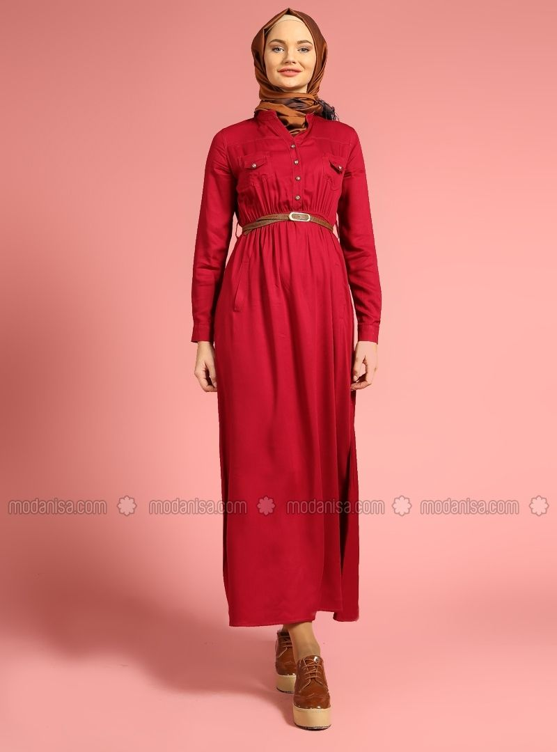 Belted dress fuchsia benin modanisa pinterest hijab dress