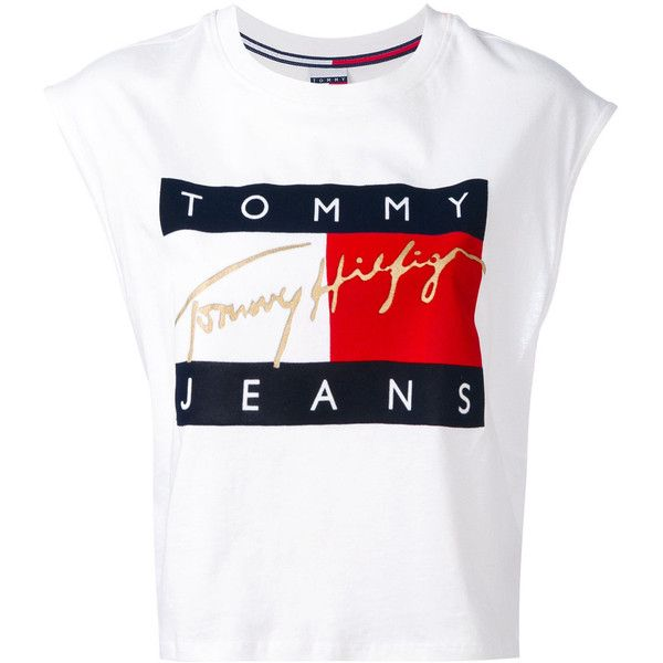 21f52888076 Tommy Jeans flock cropped tank top (945 MXN) â ¤ liked on Polyvore featuring  tops