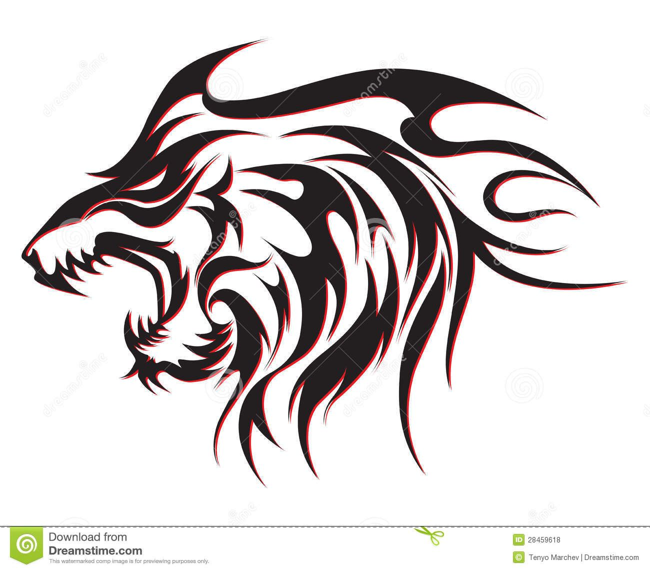 Round Eltic Wolf Tiger Tattoo Design