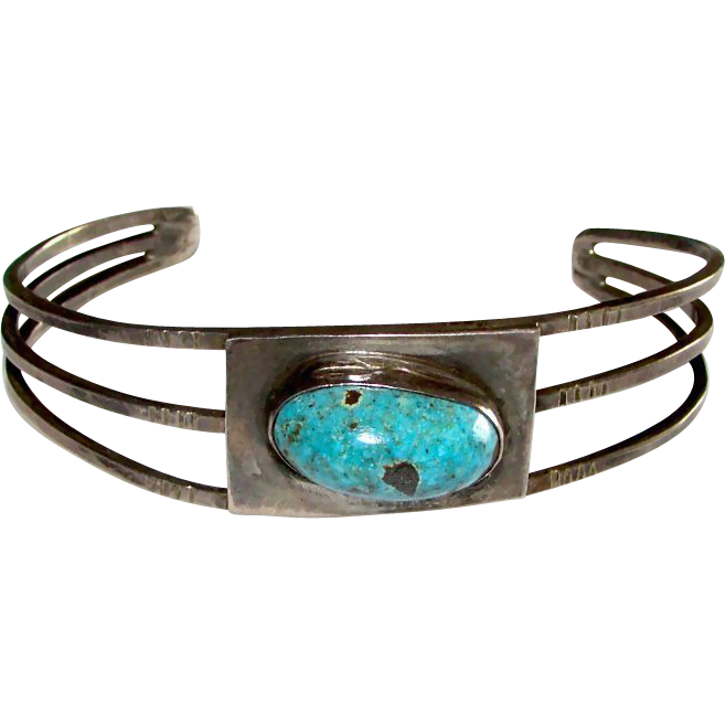Navajo Native American Sterling Silver Turquoise Cuff Bracelet