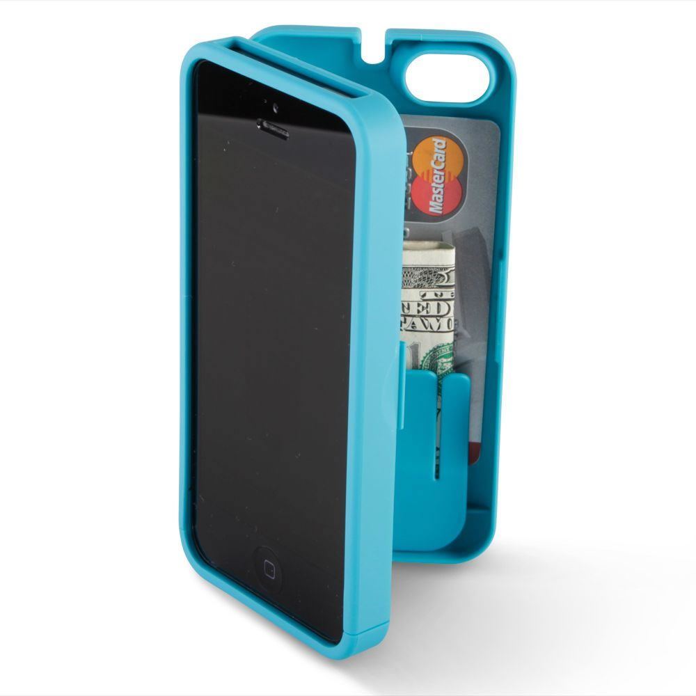 The iPhone 5 Polycarbonate Wallet (Colors) - This is the iPhone 5 polycarbonate case in bold colors with integrated storage for money, credit cards, and identification. The hinged back of the case opens to provide storage for bank cards, several bills, and other contents normally kept in a wallet or another pocket. $34.95 @Hammacher Schlemmer Schlemmer