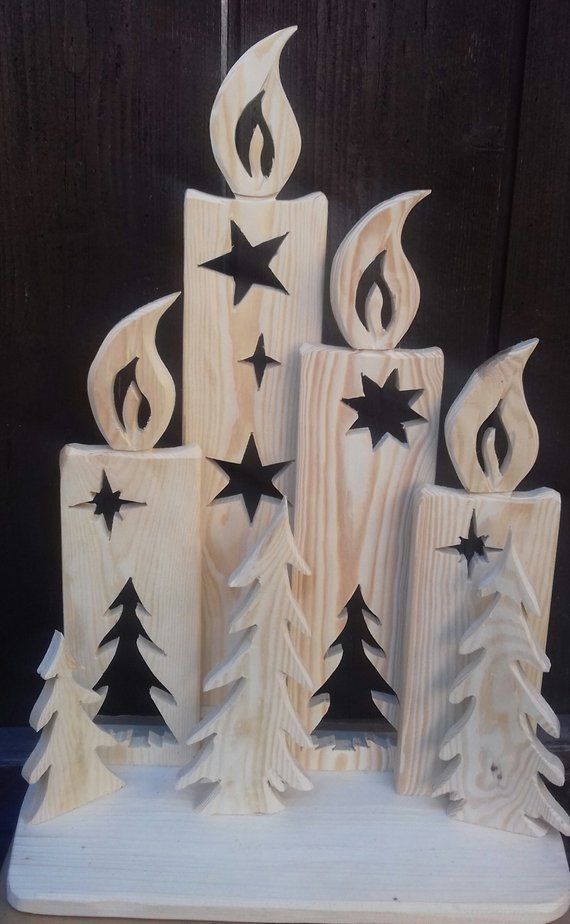Christmas decoration, FOUR wooden candles, nature, outdoor smothered or indoors, NEW, gift