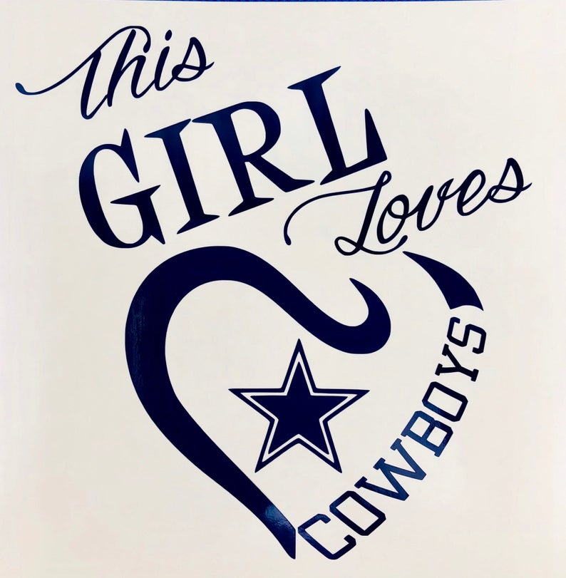 This Girl Loves Cowboys Navy Blue Vinyl Decal New Gift