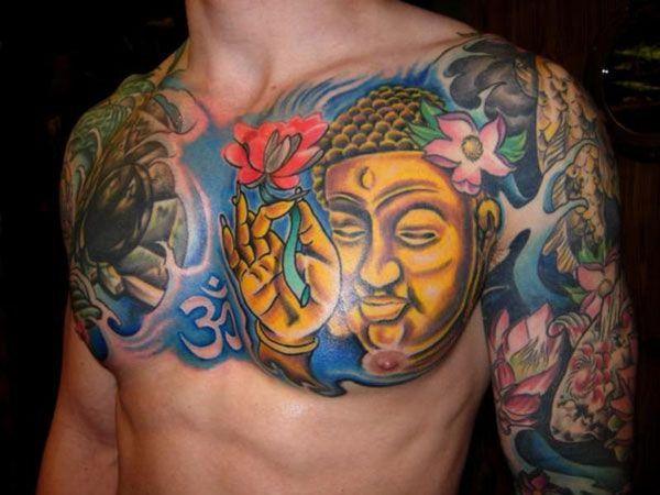 A Colourful Buddha Tattoo A Great Chest Piece Buddha Tattoo Design Buddhist Tattoo Tattoo Designs