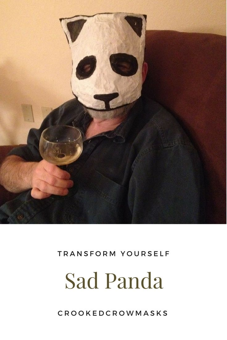Sad Panda Paper animal mask for masked ball Halloween or costume party. Designer masks masquerade masks. Internet meme mask unique ooak | Pinterest  sc 1 st  Pinterest & Sad Panda Paper animal mask for masked ball Halloween or costume ...