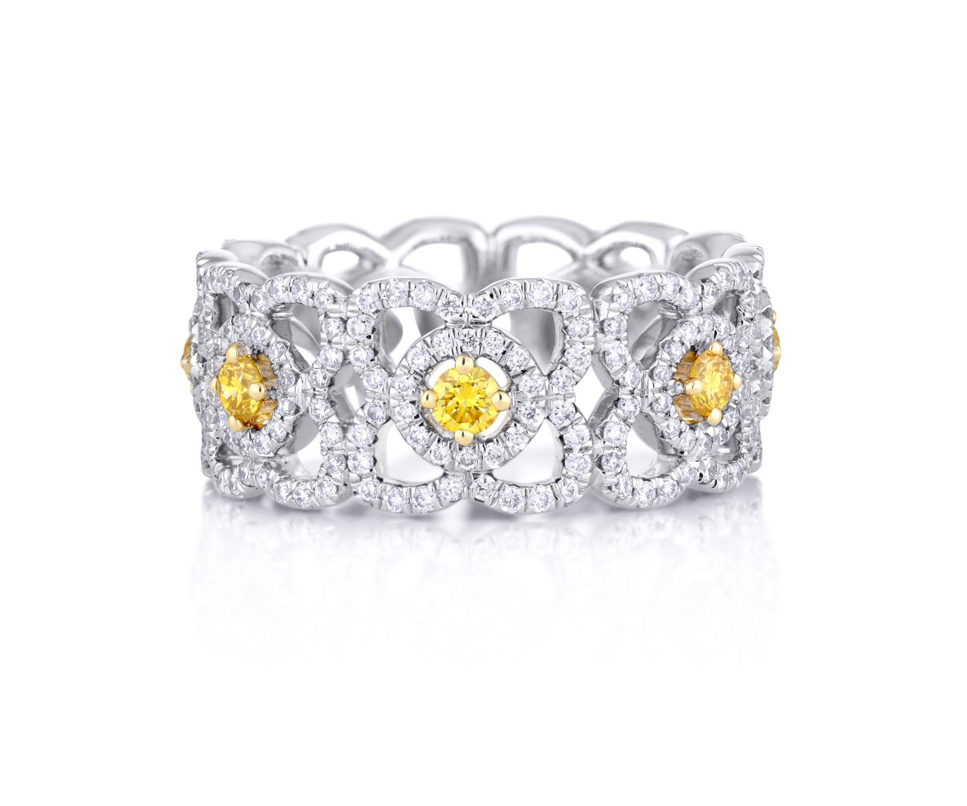 ring enchanted wide brilliant diamond diamonds band round beers yellow by wedding with de bands centre rings fancy pin lotus