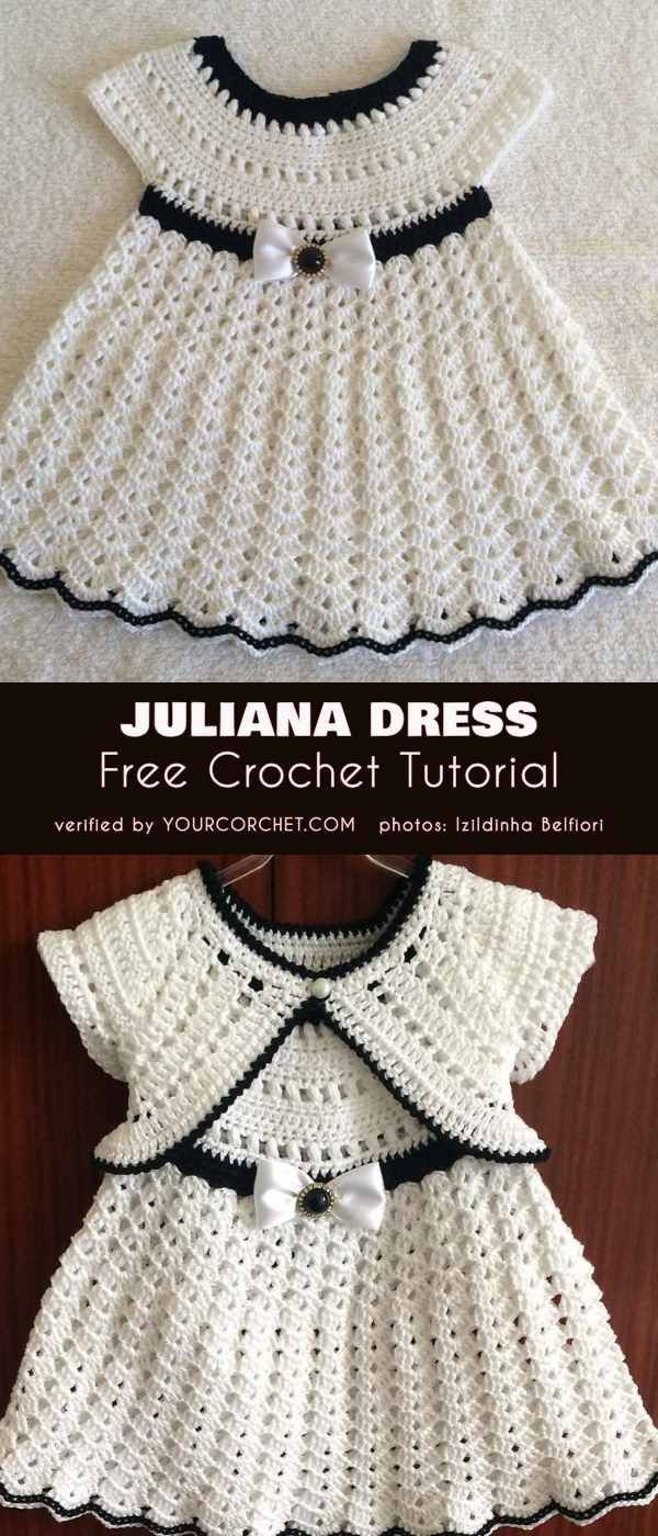 Juliana Dress Free Crochet Tutorial #vestidosparabebédeganchillo