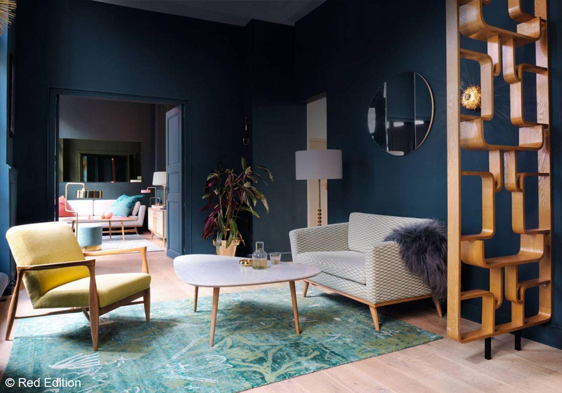 Salon bleu encre | architecture & déco | Pinterest | Mid-century ...