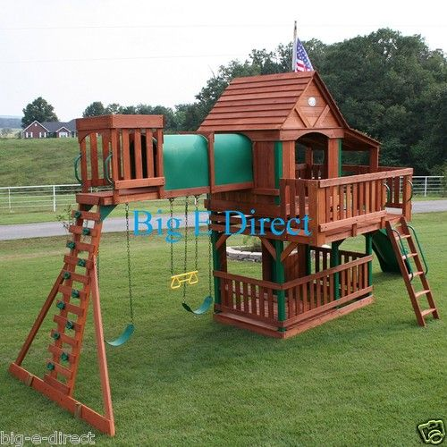 Outdoor Wooden Swing Set Play House With Slide Tunnel