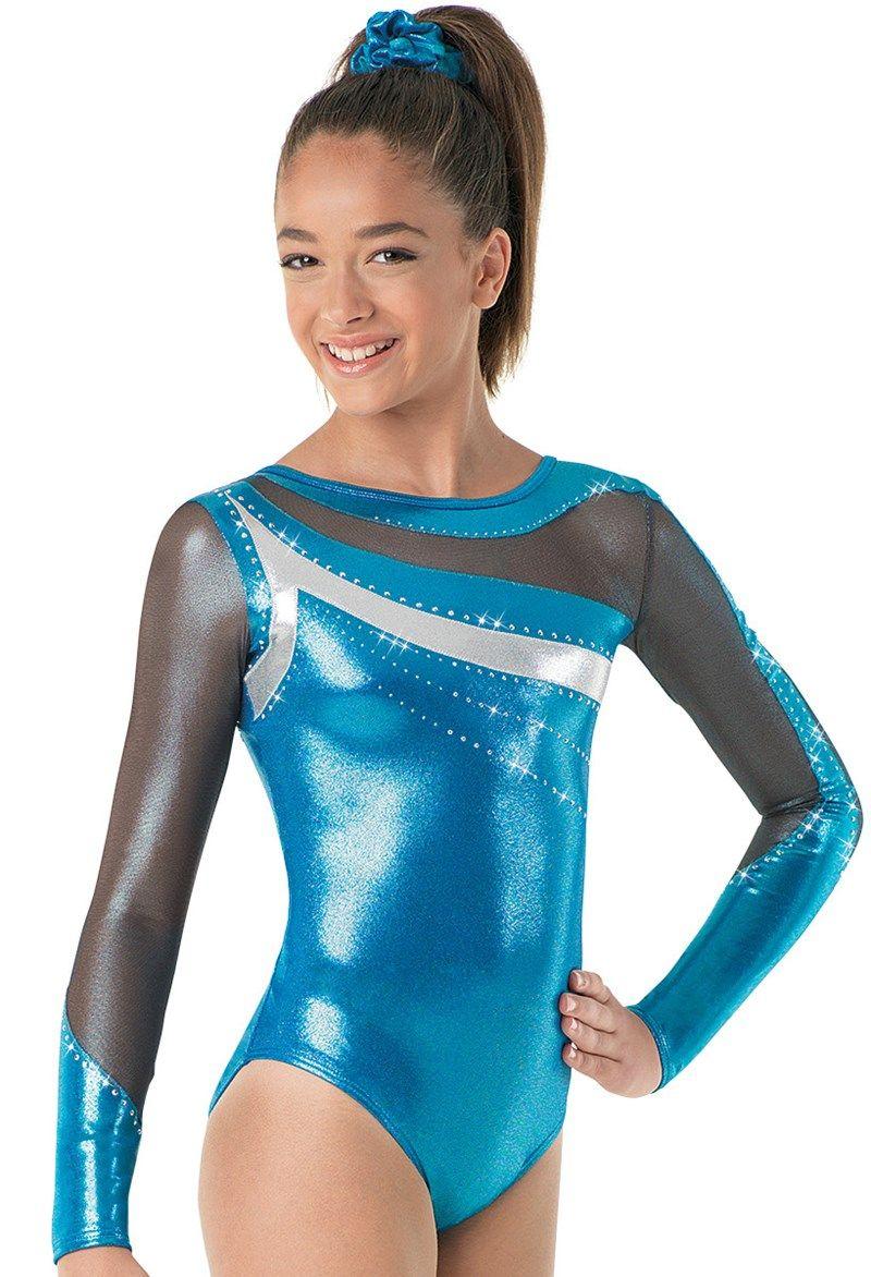 New girls gymnastic leotard long sleeve metallic star with silver top