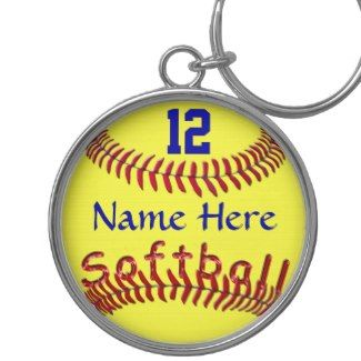 Personalized Softball Team Gift Ideas, NAME NUMBER Basic Round Button Keychain