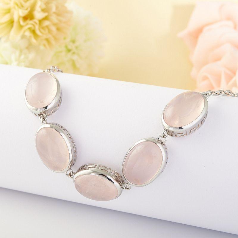 Браслет розовый кварц (серебро)