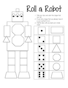 roll a robot game geometry 2d 3d shapes kindergarten math preschool math teaching math. Black Bedroom Furniture Sets. Home Design Ideas