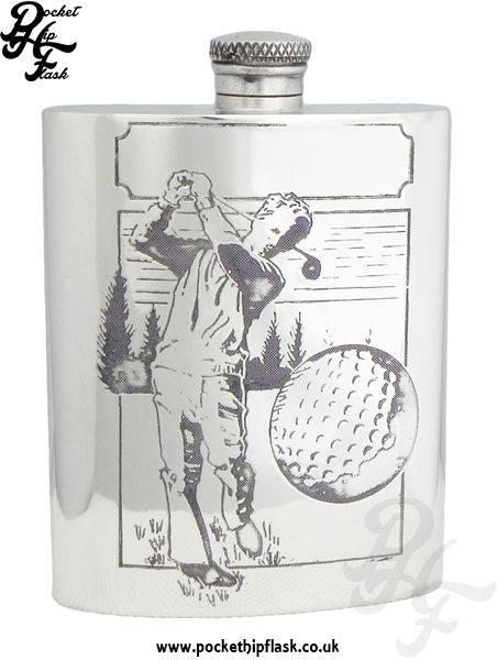 English Pewter Golfing hip Flask at The Pocket Hip Flask Company: